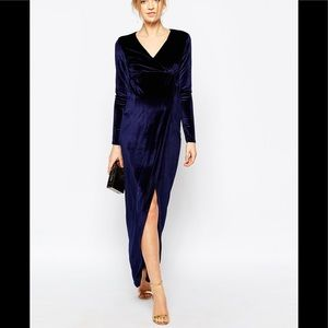 Club l maternity blue velvet long sleeve maxi dres